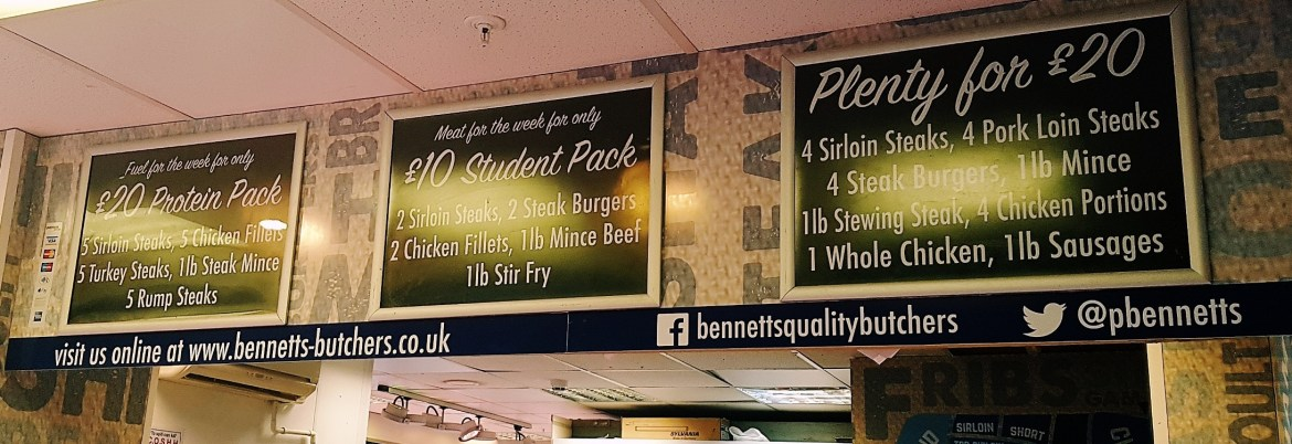 Deals on meat at Bennett's Butchers at Kirkgate Market in Leeds