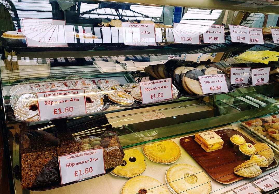 Cakes on display at Firth & Payne in Kirkgate Market in Leeds