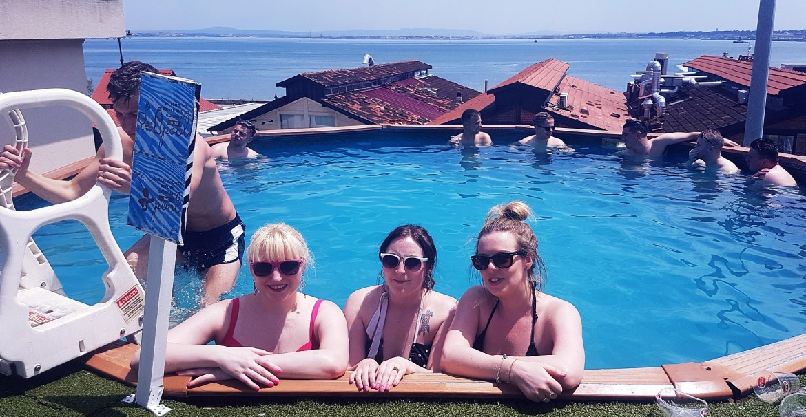 Rooftop pool at Sunset Destination Hostel in Lisbon, Portugal - Surviving Winter as a Summer Lover by BeckyBecky Blogs