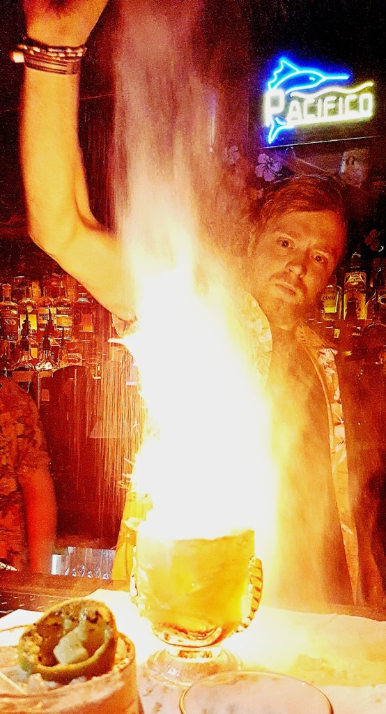 Flaming Zombie - Review by BeckyBecky Blogs of Mahiki Tiki Takecover at Tiki Hideaway with Leeds Loves Cocktails