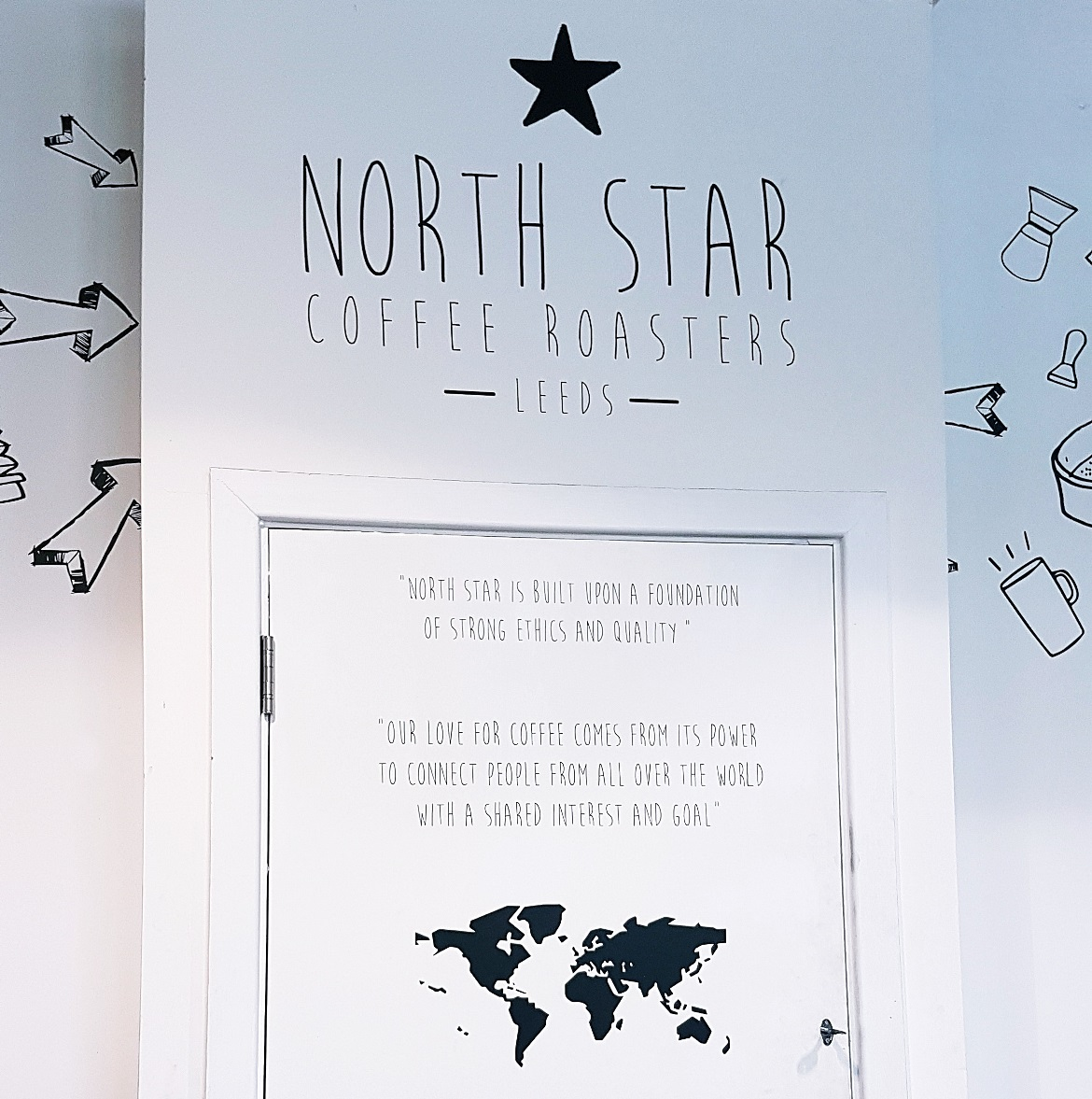 Decor on the wall of North Star Coffee Roastery - Review of North Star Coffee Shop by BeckyBecky Blogs