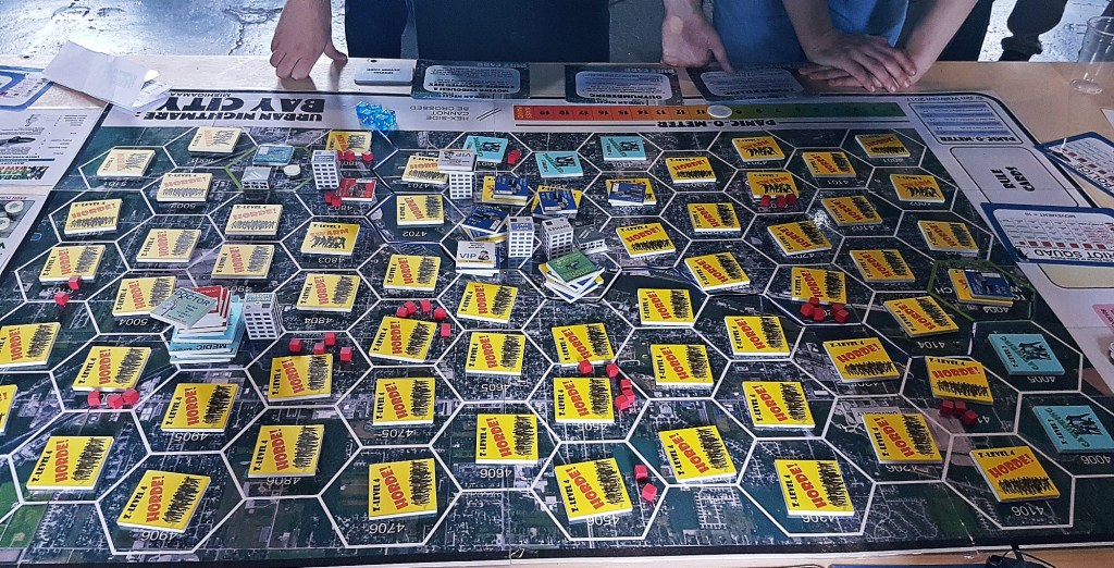 Zombies covering an entire city map - Urban Nightmare: State of Chaos, the Wide Area Megagame, After Action Report by BeckyBecky Blogs