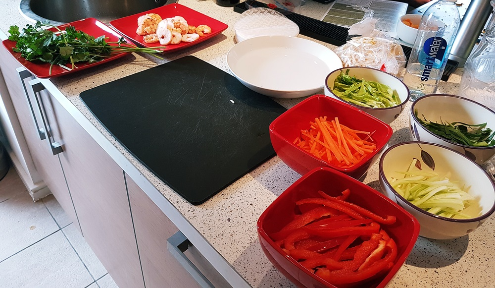 Prep station for Vietnamese Summer Rolls - Recipe by BeckyBecky Blogs