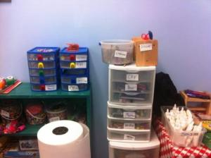 Even labels cause creativity! Last week, some of our elementary kids labeled the supplies  in one corner of our art room!
