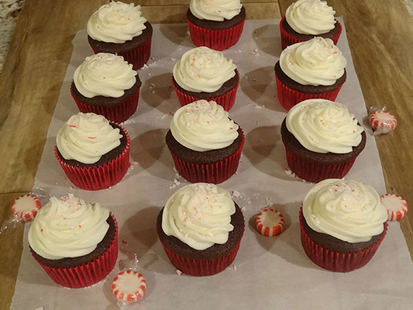 Chocolate cupcakes with peppermint buttercream frosting