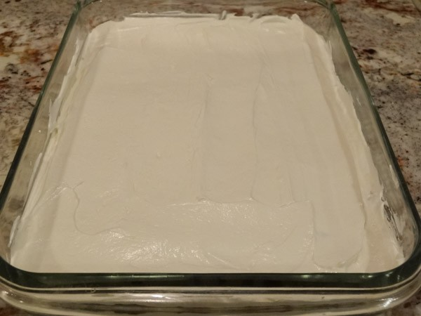 Cream cheese layer added to pan