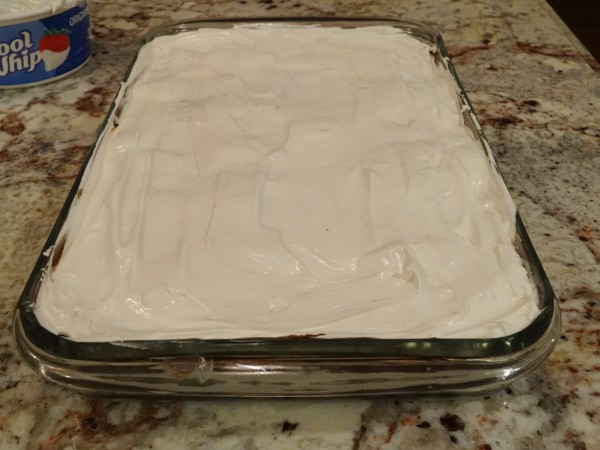 Whip Cream layer added to pan