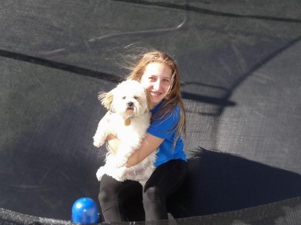 daugheter and dog