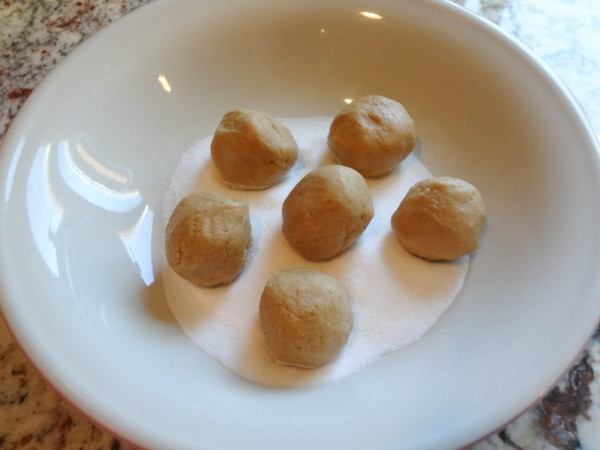 cookie dough shaped into balls