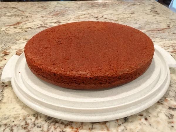 red velvet cake placed in cake holder
