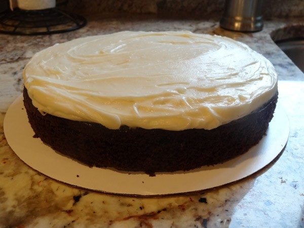 cream cheese layer added to cake
