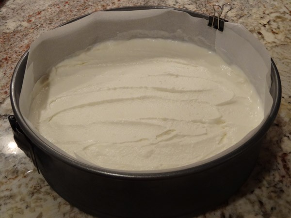 vanilla ice cream layer added to springform pan