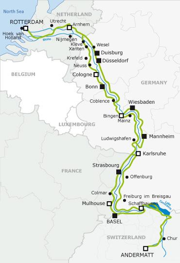 Mapa da euroVelo 15