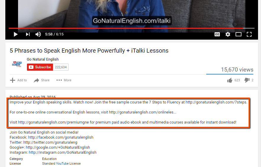 Links in Video Description