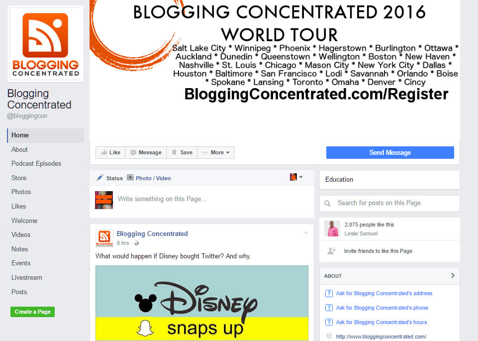Blogging Concentrated on Facebook