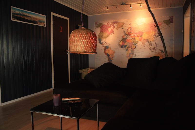 Our world map lounge with comfy sofa
