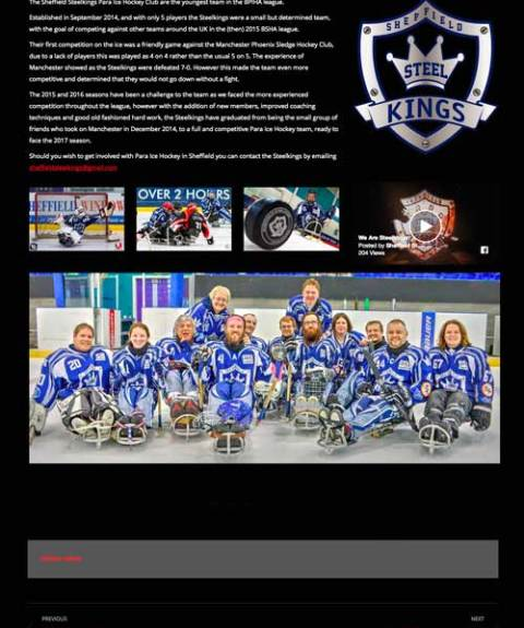 Sheffield Steelkings Game review from the British Sledge Hockey Association website design