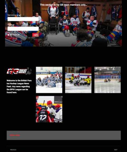 Locker Room page fro British Sledge Hockey Association website design