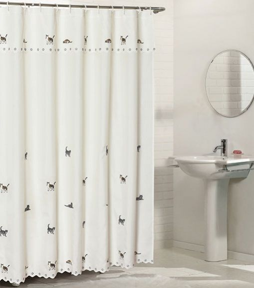 cats fabric shower curtain with attached valance