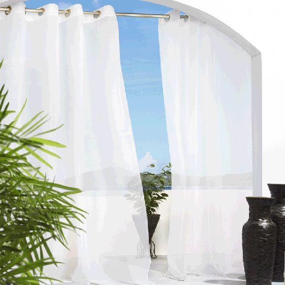 Escape Outdoor Sheer Curtains White Outdoor Sheer Drapes Altmeyers BedBathHome