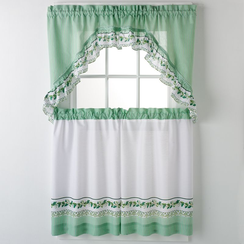 united curtain co ivy 3 piece valance and tier set