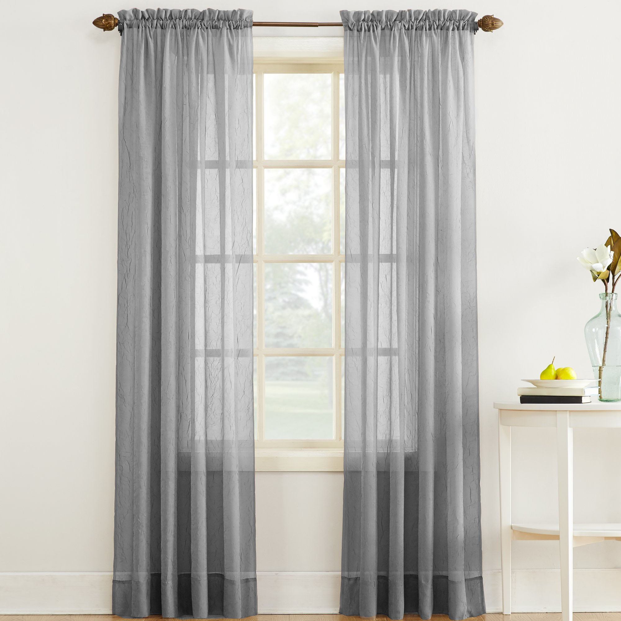 erica crushed sheer voile curtain panel in gray