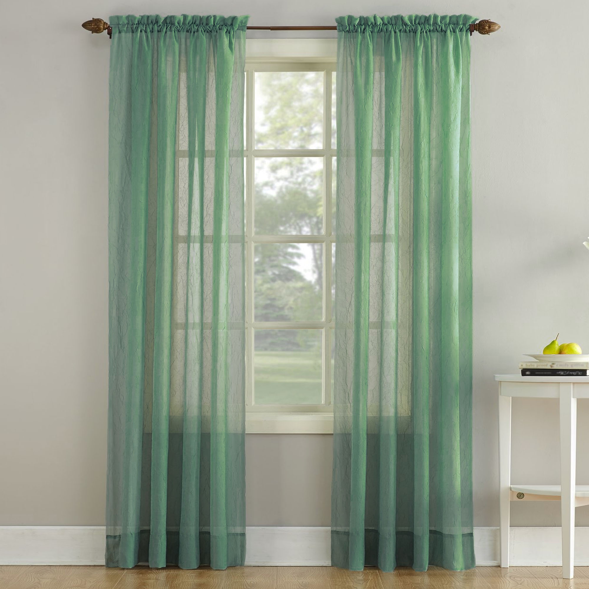 erica crushed sheer voile curtain panel in sage