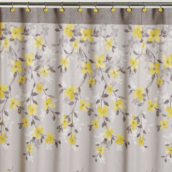 spring garden gray and yellow floral fabric shower curtain