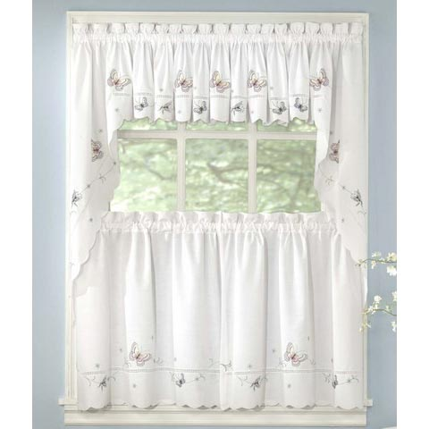 Butterfly Embroidered Kitchen Curtain