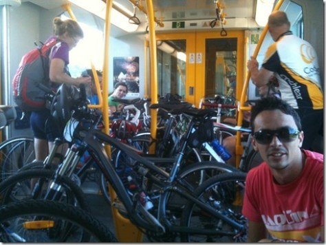 On the way back to Sydney afterwards with a train full of all kinds of bikes