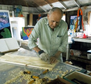 Zig Priede working on woodcut