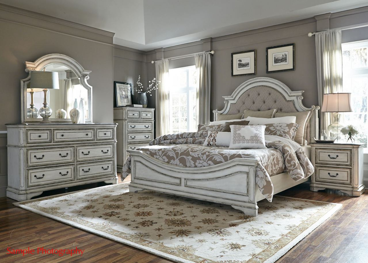 Liberty Magnolia Manor 4 Piece Upholstered Bedroom Set In Antique White