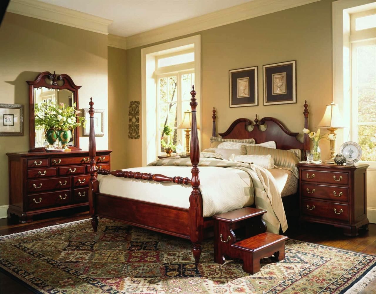 drew cherry grove low poster bedroom set in cherry