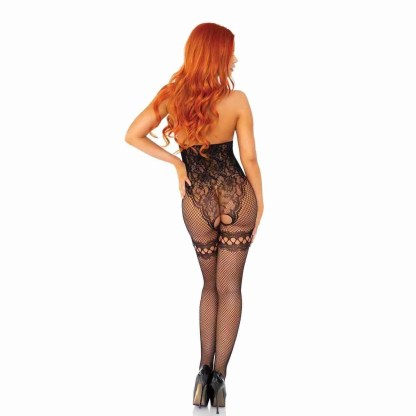Leg Avenue Net And Lace Cupless Bodystocking UK 8 To 14 - 2