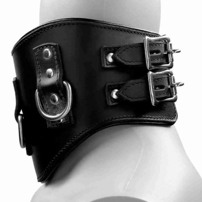 Heavy Duty Black Leather Padded Posture Collar 2