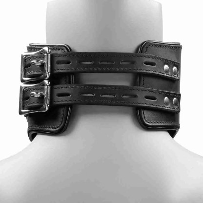 Heavy Duty Black Leather Padded Posture Collar 4