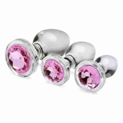 Pink Gem Glass Anal Plug Set 1