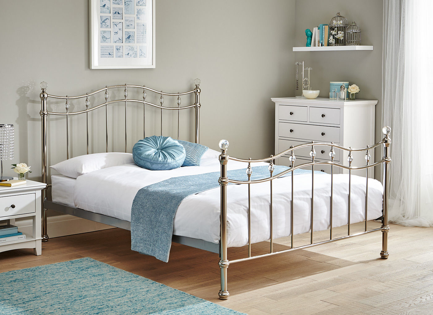 Louis Chrome Metal Bed Frame 4 6 Double Silver Bed Sava