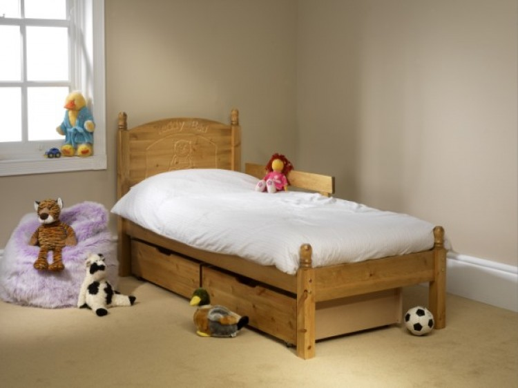 Friendship Mill Childrens Teddy 3ft Single Pine Wooden Bed