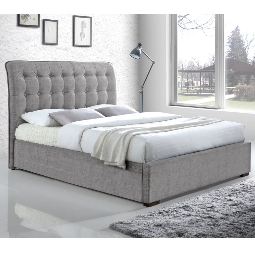 time living hamil6lgrey hamilton 6ft super king size light grey fabric bed