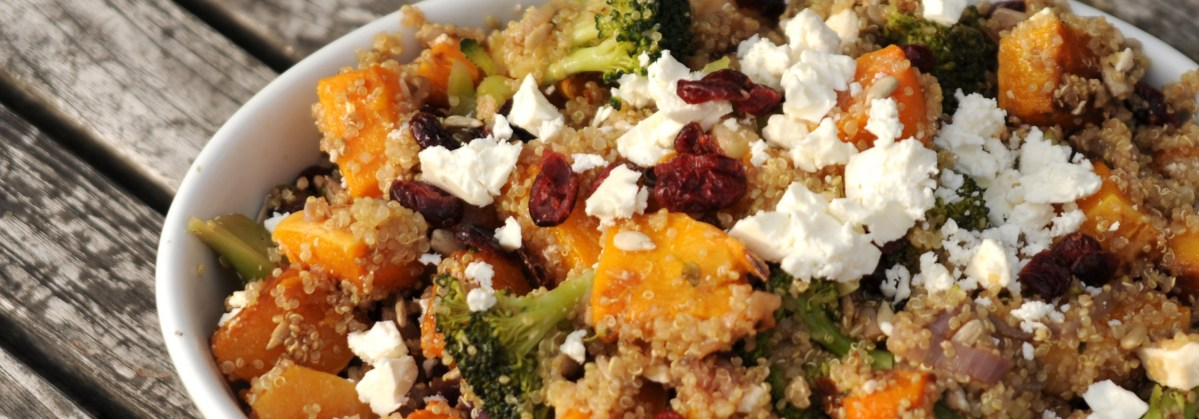 BBQ time - Butternut squash, broccoli and quinoa salad