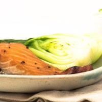 Miso glazed salmon with Japanese rice