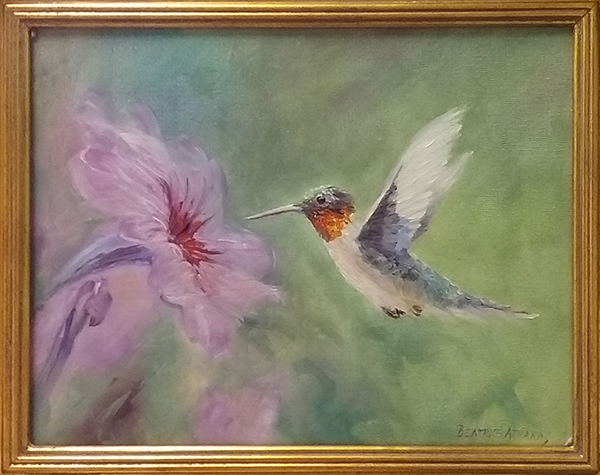 Painting of Hummingbird at Purple Flower