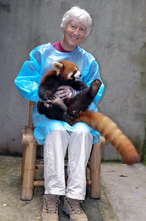 Nancy Holding Red Panda