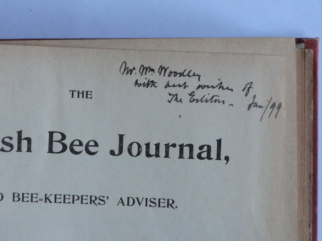 Mr and Mrs Woodley's copy of the 1898 British Bee Journal. William Woodley (Beekeeper)
