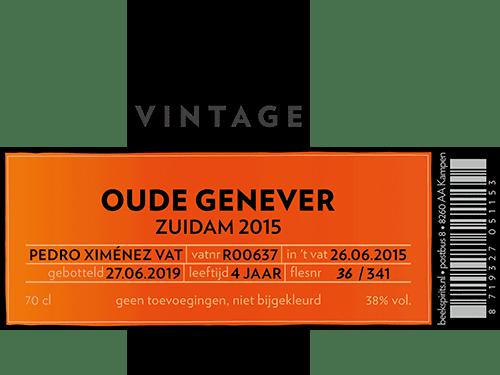 Beek vintage Oude Genever Zuidam 2015 etiket