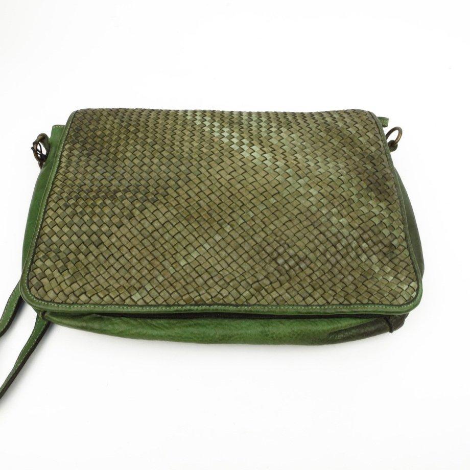 borsa intrecciata verde