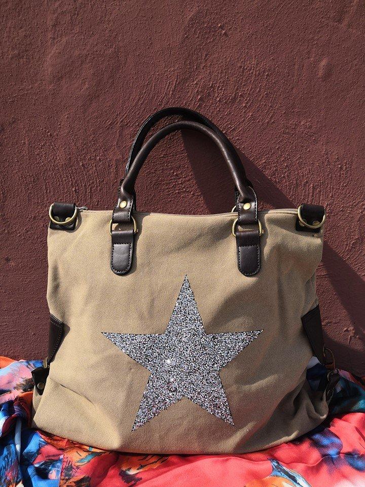 borsa canvas stella sabbia