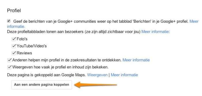 Instelling om Google+ Mijn Bedrijf te koppelen aan je pagina