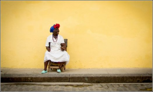 Lady in Havana Smoking a Cigar